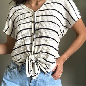 Sage Blue and White Striped Knot Top